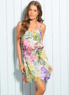 Vestido de Alça Chiffon Estampa Tropical - Posthaus