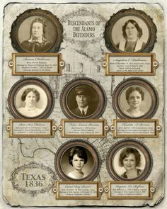 Genealogy chart tracing ancestry to an Alamo Survivor from http://www.etsy.com/shop/CreativeFamilyTree