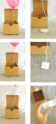 Balloon invitations using a box, mini balloon and a little note tied onto the balloon string! Open up the box and wait for magic to happen.