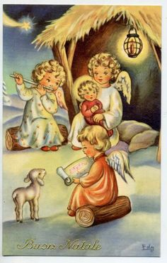 Signed EDY Angels Music Toys Complete set of 6 vintage postcards PC Circa 1940 A Christmas Nativity, Christmas Angels, Christmas Art, Retro Illustration, Christmas Illustration, Vintage Christmas Images, Christmas Pictures, Christmas Greeting Cards, Vintage Cards