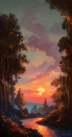 Sunset, forest, river; Anime Scenery