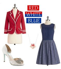 Red White Blue 4th of July Patriotic Outfits. So elegant and feminine outfit (in my opinion): peep toe shoes with braded bows, A-line navy dress, red blazer and small necklace - ModCloth