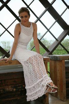 crochelinhasagulhas: Vestido branco de crochê Giovana Dias