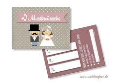 Hochzeitskarten - 50 Musikwunschkarten für die Hochzeit - ein Designerstück von Be-nice-4-you bei DaWanda