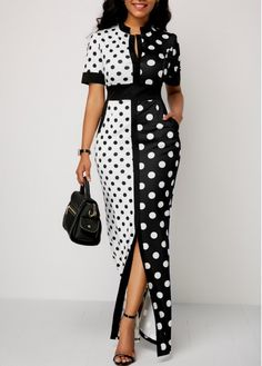 Front Slit Polka Dot Print High Waist Dress - Trend Way Dress African Fashion Dresses, Fashion Outfits, African Dress Styles, Ankara Fashion, African Wear, Ankara Styles, Dress Fashion, Girl Fashion, Womens Fashion
