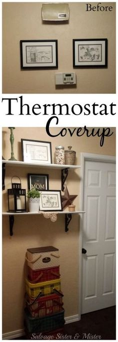 an ugly thermostat or doorbell? Use some inexpensive and thrifted items to cover it up. Budget home décor. Interior design for the hallway. Farmhouse or fixer upper style with vintage items like these metal picnic tins collection. Cheap Home Decor, Diy Home Decor, Light Fixture Makeover, Thermostat Cover, Hide Thermostat, Diy Wood Wall, Farmhouse Desk, Vintage Picnic, Hallway Decorating