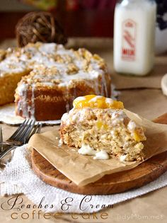 Peaches Cream Coffee Cake great for #Christmas morning (you can make with any flavor fruit pie filling) recipe at TidyMom.net
