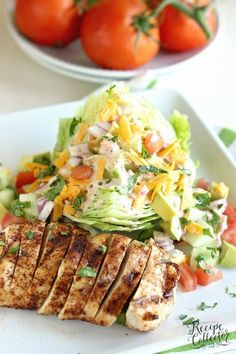 Low Carb Recipes This Chicken Fajita Wedge Salad is a perfect way to enjoy fajitas in a light, healthy, and low-carb way! - This Chicken Fajita Wedge Salad is a perfect way to enjoy in a light, healthy, and low-carb way! Lunch Recipes, Healthy Dinner Recipes, Low Carb Recipes, Salad Recipes, Diet Recipes, Healthy Dinners, Heart Healthy Dinner, Carb Free Meals, Easy Recipes