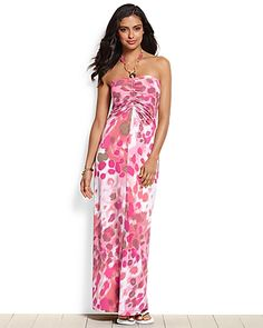 pretty dress maybe might have to try this one? Tommy Bahama - Alley Spots Halter Maxi Dress