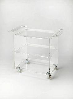 Butler Loft Crystal Clear Modern Clear Acrylic Trolley Server