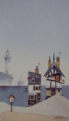 Gary Walton watercolour 'Lifeboat Cottages'