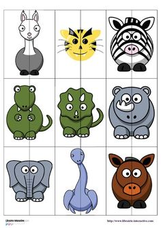 Un jeu (puzzles � deux pi�ces) � plastifier pour associer les deux parties d'un animal et d�couvrir la notion de sym�trie.