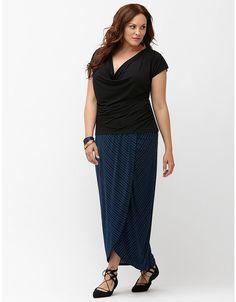 b55b664a65b New LANE BRYANT Maxi Skirt 22 24 Blue Black Striped Matte Jersey Knit Faux  Wrap · Trendy Plus Size ...