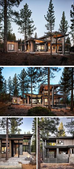 sagemodern Design A new rustic contemporary home in Lake Tahoe - Architecture Ideas Modern Rustic Homes, Rustic Contemporary, Contemporary Home Design, Contemporary Furniture, Contemporary Building, Modern Cabins, Contemporary Apartment, Contemporary Wallpaper, Contemporary Chandelier
