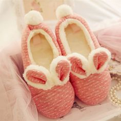 d9822be5421 Home Shoes Polka Dot Rabbit Cute Hairy Ears Cotton Indoor Chaussons Femme  Schoenen Pantuflas Pink Slippers