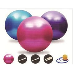 Sports Core Exercise Set - Yoga Stability Ball with Inflator and Pair of Slide Discs