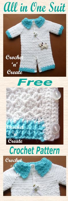 Free baby crochet for preemie all in one suit. #crochet