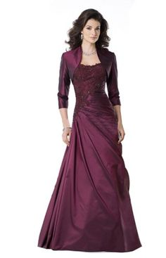 http://kangiyud.com IBEAUTY DRESS Mother's Lace Half Sleeve Wedding Dress with Coat Purple US 8