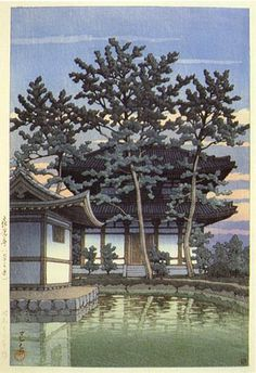 hanga gallery . . . torii gallery: Kikoji Temple, Nara by Kawase Hasui