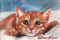 Giclee Print of  Watercolor Painting Cat Red Ginger Tabby  Kities Kitten