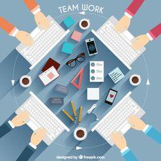 Ilustración de equipo de trabajo con teclado Vector Gratis