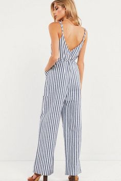 58e7f95ee8 Women Light-blue Stripe Spaghetti Straps Button Tied Casual Jumpsuit - S