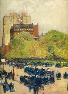 Childe Hassam (American: 1859-1935) | Spring Morning in the Heart of the City (aka Madison Square, New York)