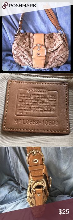 Coach Soho Signature Canvas  Well loved Coach Soho bag in classic tan signature canvas and white stitching.  Silver hardware, buckle with flap closure and the magnetic that is still very strong. Exterior pocket with snap closure, interior zip closure, & 2 open pockets. This bag has been used for a long time and has some signs of wear.  Please review the pictures carefully for signs of wear on bottom corner and back as well as the leather strap. It is still functional and has lots of use…