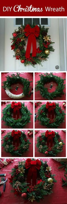 36 Christmas garland ideas that will make your door charming and unique for the holidays - Feliz Natal 1609 Homemade Christmas Wreaths, Xmas Wreaths, Noel Christmas, Christmas Crafts, Christmas Ornaments, Door Wreaths, Christmas Swags, Paper Ornaments, Cheap Christmas