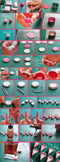 clay pink cake tutorial by on DeviantArt Fimo Polymer Clay, Polymer Clay Figures, Polymer Clay Miniatures, Polymer Clay Projects, Polymer Clay Jewelry, Clay Crafts, Barbie Miniatures, Clay Food, Cake Tutorial