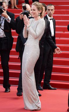 Emily Blunt   LOL! The actress looks statuesque at the Cannes Film Festival.