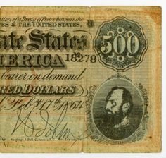 "$500 Confederate bond: ""Two years after the Ratification of a Treaty between the Confederate States & United States the C.S.A. will pay to the bearer on demand $500."" Handed down in the family from Sherman Blair."