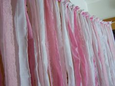 Pink wedding garland, wedding curtain,Tattered Fabric, girl's curtain, baby shower garland. on Etsy, $89.00