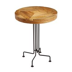 Sterling Metal & Wood Slatted Accent Table (Natural Woodtone & Black)