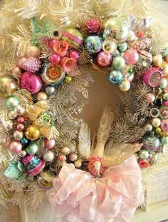 Vintage ornament wreath :)- I have been wanting to collect vintage ornaments but I wouldn't dare put them on my tree with two little ones. Christmas Ornament Wreath, Noel Christmas, Vintage Christmas Ornaments, Pink Christmas, All Things Christmas, Winter Christmas, Christmas Crafts, Bauble Wreath, Ball Ornaments