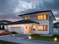 DOM.PL™ - Projekt domu TP Karat 2 CE - DOM TP2-13 - gotowy koszt budowy 2 Storey House Design, Modern House Design, House Outside Design, Mediterranean Style Homes, Architect House, Facade House, House Exteriors, Home Design Plans, Home Fashion