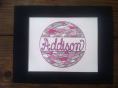 Pink/white/black design w/cursive colored by LetterMomma on Etsy, $20.00
