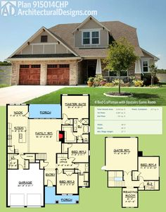 Architectural Designs Craftsman House Plan 915014CHP gives you 4 beds and over 2,800 square feet of living. Ready when you are. Where do YOU want to build?