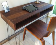 Boxer mid century modern desk with storage, featuring black walnut and hairpin legs. Cute Furniture, Furniture Makeover, Modern Furniture, Furniture Design, Mid Century Modern Desk, Living Room Tv Unit Designs, Modern Interior Design, Mid-century Modern, Interior Decorating