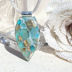 Fused Glass Jewelry Fused Glass Pendant Beveled от IntoTheLight