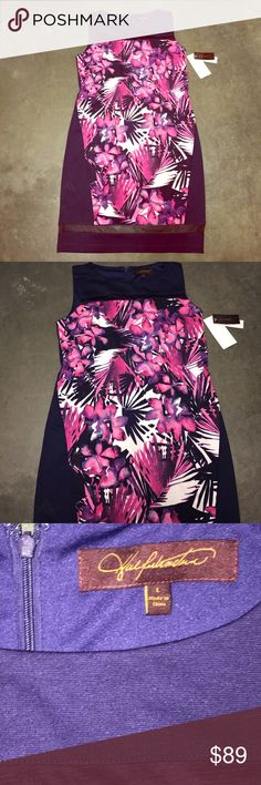 NWT Plum dress with fuchsia flowers New with tags's size large sheer on the bottom trim lined materials are polyester and spandex Halfulnsten Dresses Midi
