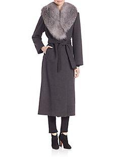 Sofia Cashmere - Wool & Cashmere Fur-Trim Wrap Coat