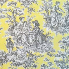 LIGHT GRAY AND YELLOW FABRIC | in the lemondrop colorway. Charcoal gray toile print on a lemon yellow ...