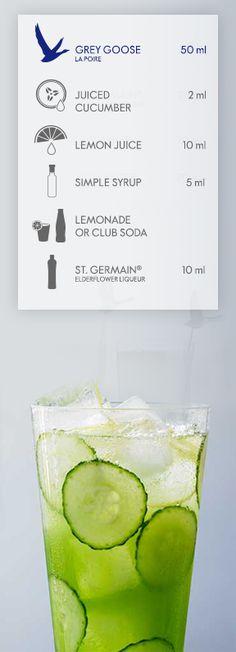GREY GOOSE® LA POIRE: CUCUMBER FIZZ. Simply smooth and crisp, this cocktail combines GREY GOOSE® La Poire Flavoured Vodka, premium elderflower liqueur, juiced cucumber, lemon juice and simple syrup topped with lemonade or club soda. #FlyBeyond