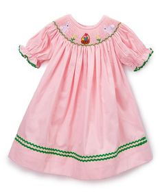 Pink Bunny Smocked Bishop Dress - Infant, Toddler & Girls
