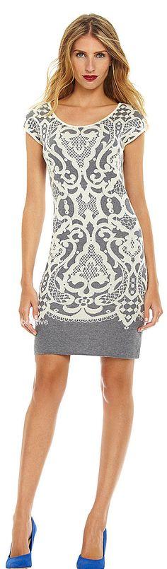 Chelsea & Violet Lace Jacquard Sweater Dress - Dillards