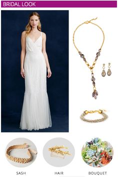 Desert Palm Springs Wedding Inspiration | Bridal Look - Accentuate a simple dress with a long statement necklace, beaded belt and matching hair-piece!