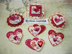 Valentine's Day Love Romantic Heart Paper Hearts and Paper Embellishments for Scrapbook Layouts Cards Mini Albums and Paper Crafts