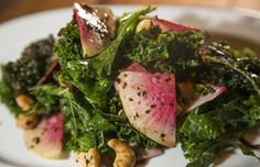 Kale salad with cashews and magenta Beauty Heart radishes from Wolf Peach, the restaurant that opened in November in the former Roots space in Brewers Hill.