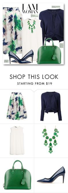 """""""Floral Pleated Skirt & Cardigan"""" by brendariley-1 ❤ liked on Polyvore featuring Aida Barni, MANGO, Natasha Accessories, Louis Vuitton and Rupert Sanderson"""